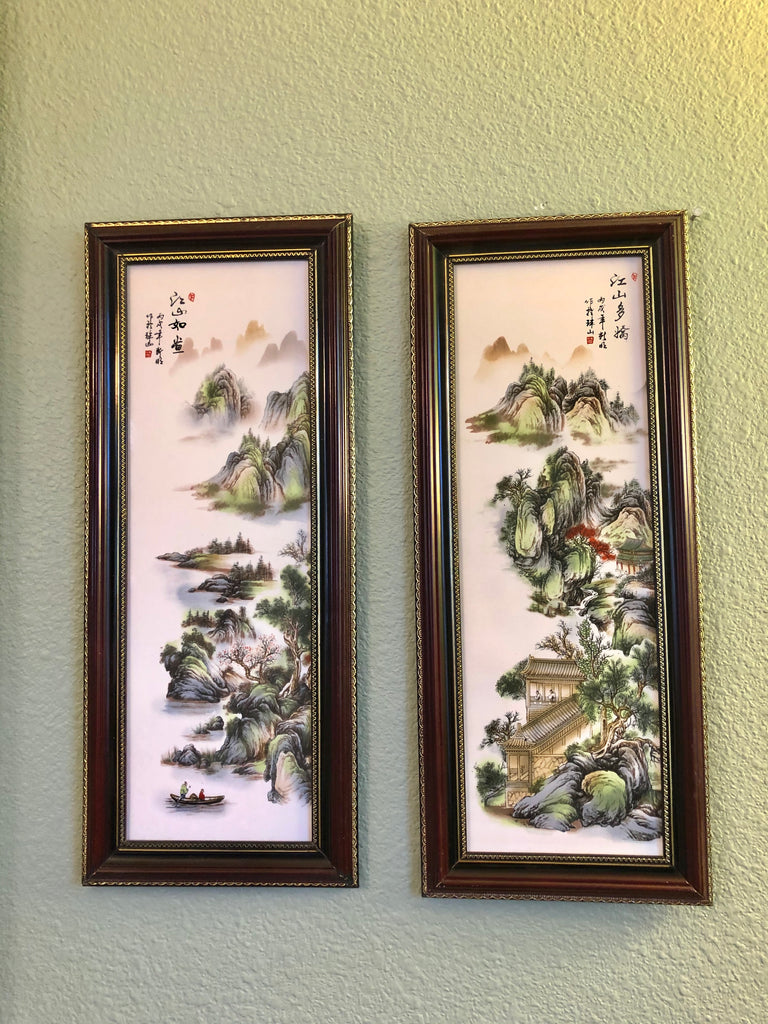 """Peaceful Land"" Chinese Porcelain Wall Art Paintings"