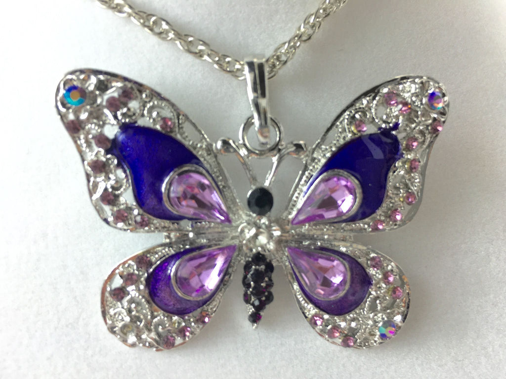 Purple Butterfly Feng Shui Pendant Necklace