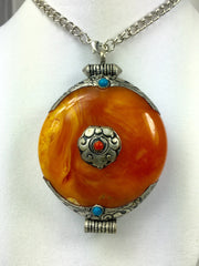 Antique Tibetan Amber Pendant