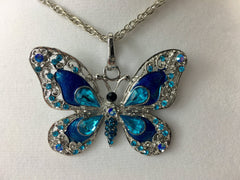 Blue Butterfly Feng Shui Pendant Necklace
