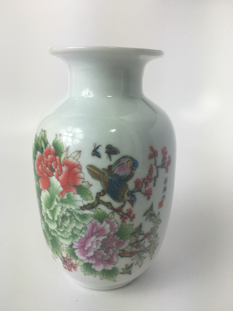 Birds and Butterflies with Peony Flowers Chinese Porcelain Flower Vase
