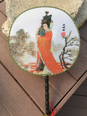 Feng Shui Hand Fan with Famous Chinese Beauty Wang Qiang