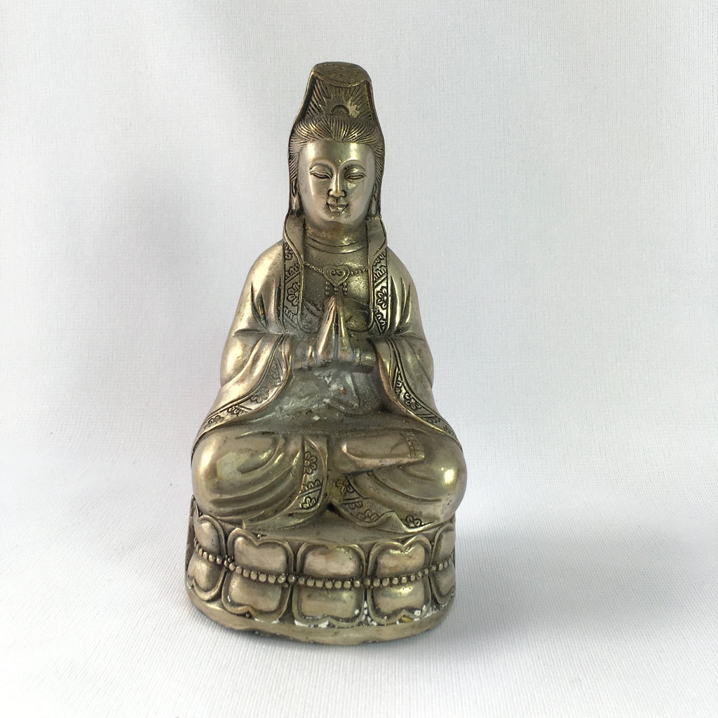 Antique Bronze Statue Praying Kwan Yin