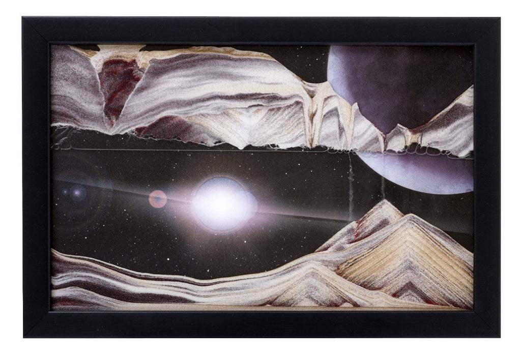Moving Sand Art Picture Outer Space in Frame in Movie Series
