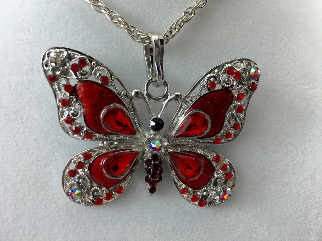 Red Butterfly Feng Shui Pendant Necklace