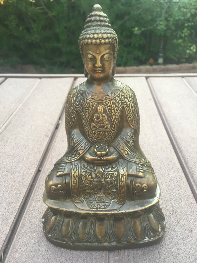 Antique Bronze Statue Serenity Buddha