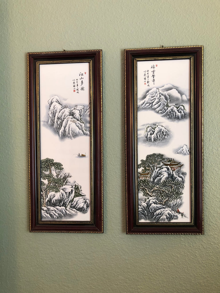 """Snow Fairy Tale"" Chinese Porcelain Ceramic Wall Art Paintings"