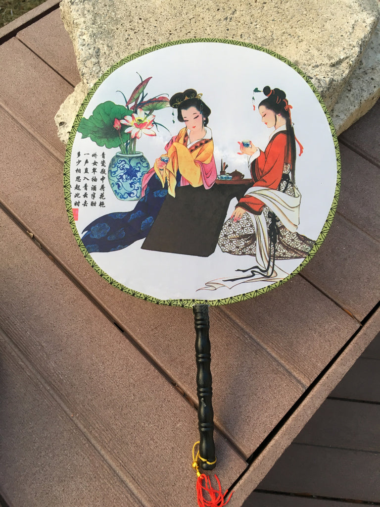 Feng Shui Hand Fan with Two Chinese Beauties Having Tea