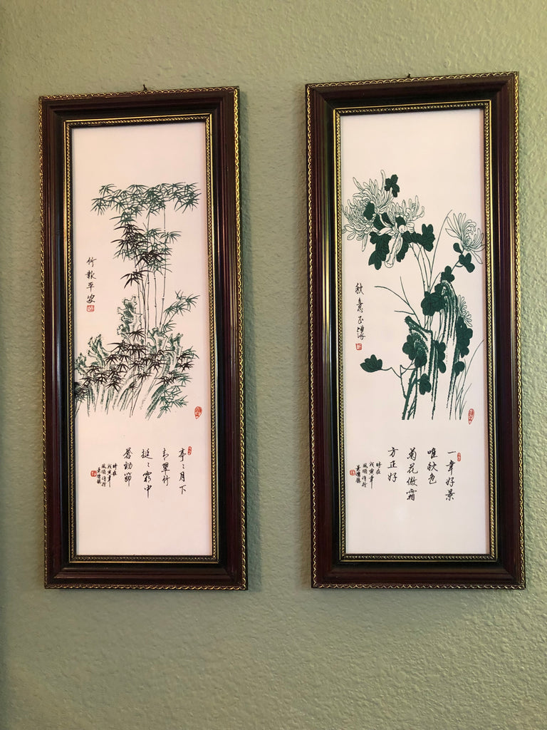 Bamboo and Chrysanthemum Porcelain Wall Art Paintings