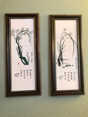 Prunus and Orchid Porcelain Wall Art Paintings