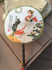 Feng Shui Hand Fan with Chinese Beauty Diao Chan in a White Dress