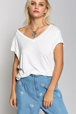 Folded Short Sleeve V-Neck T Shirt