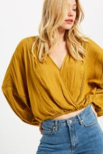Dolman Sleeve Cropped Surplice Blouse