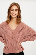 Punch Hole Chenille Sweater