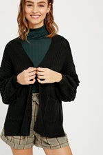 Chunky Open Front Cardigan w/Pockets