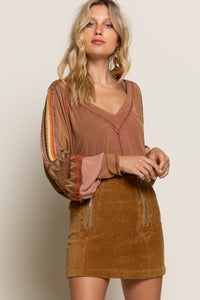 Long Sleeve Relaxed Fit Top w/Balloon Sleeves