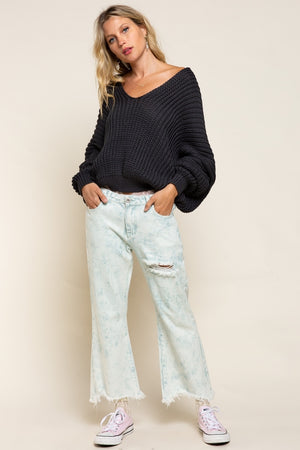 Wide Neck Draped Sweater
