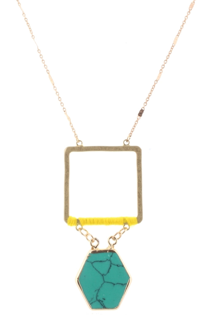 "32"" Gold Chain with Yellow Wrapped Square with Turquoise Stone Hexagon, 3"" Ext."