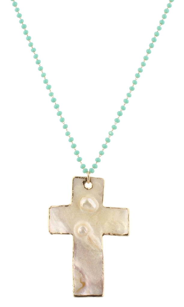 "32"" Delicate Mint Linked with Shell Cross"