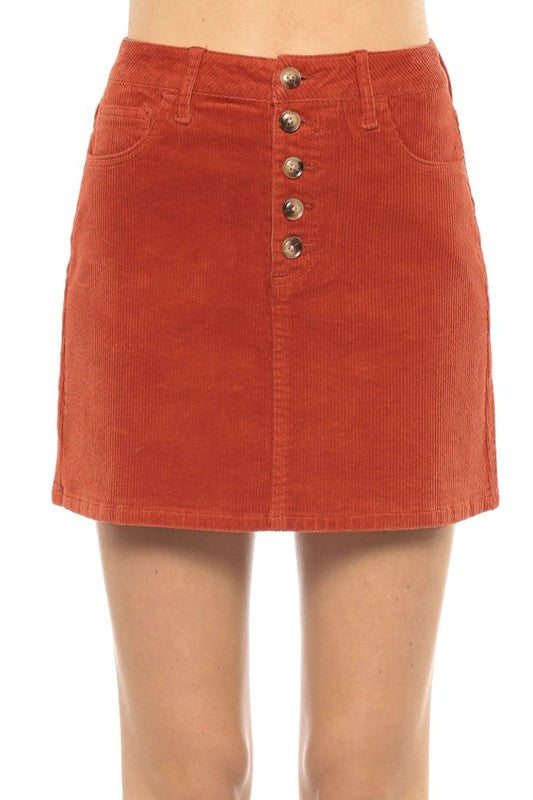 High Rise 5 Button Corduroy Mini Skirt