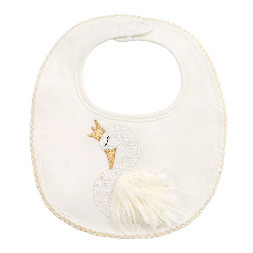 French Terry Swan Bib by Mud Pie