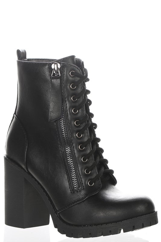 Lace Up Zipper Chunky Heel Boot