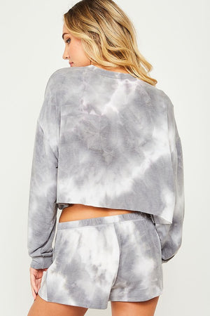 Tie-Dyed Cropped Terry Knit Top