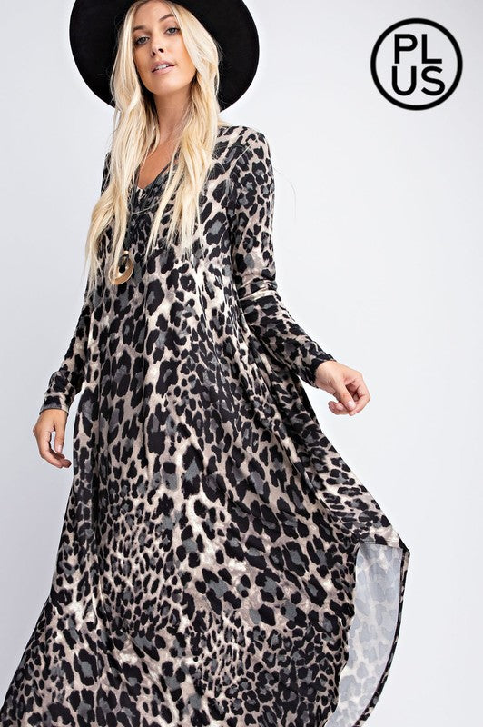 Animal Printed V Neckline Maxi Dress