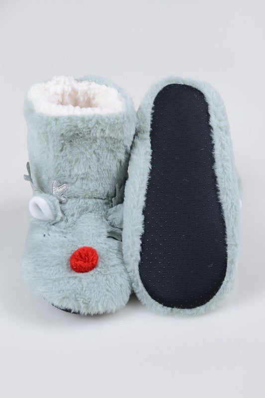 Furry Red Nose Reindeer Slippers