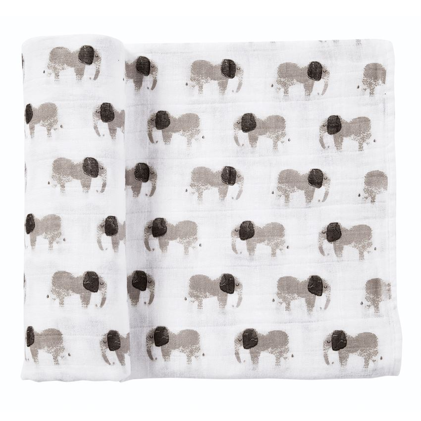 Muslin Elephant Swaddle Blanket