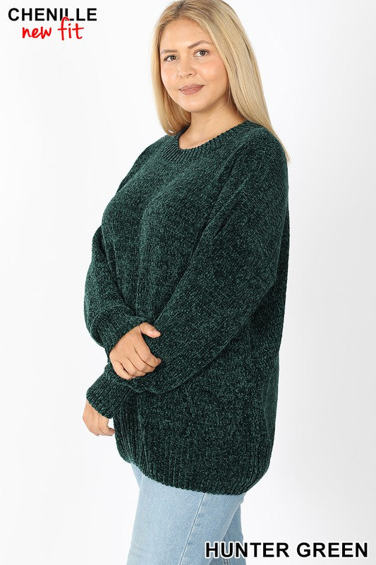 Plush Round Neck Chenille Sweater