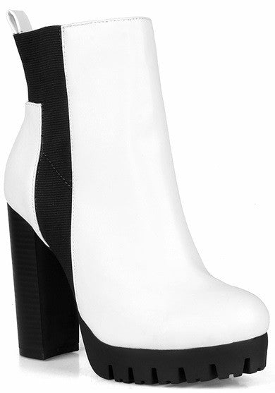 Elastic Slip on Lug Sole Bootie