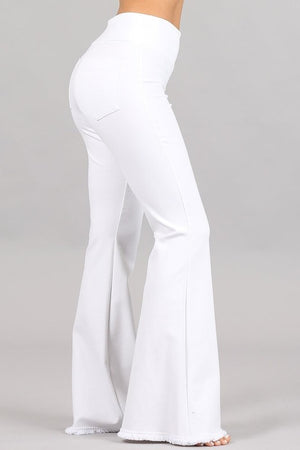 Flared Bell Pants with Frayed Hem