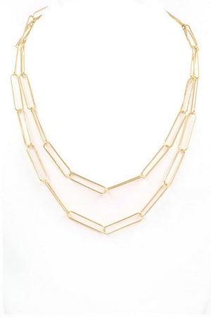 Gold Metal Chain Layered Necklace