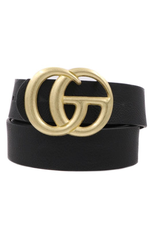 Double Metal Ring Faux Leather Buckle Belt