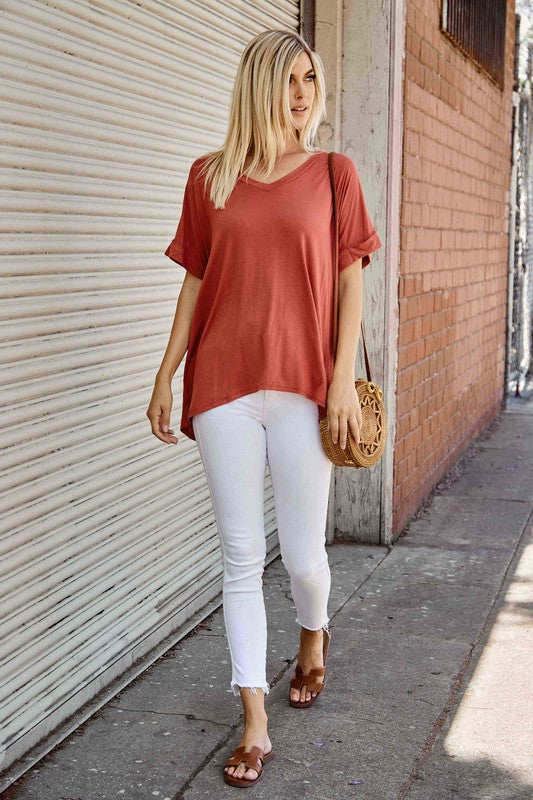 Solid V Neck Top