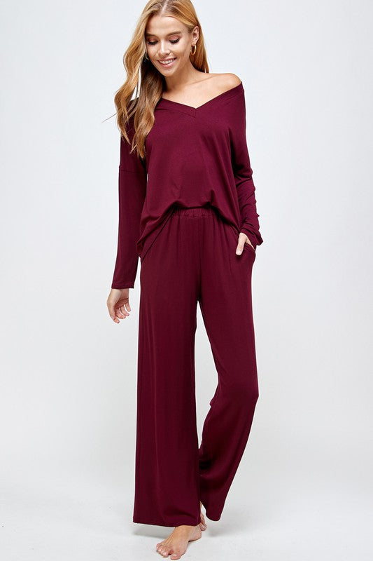 Lounge Wear Off Shoulder Top and Pants
