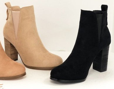 Block Heel Bootie with Elastic Inserts