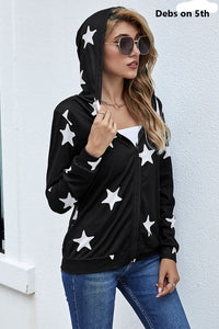 Hooded Star Print Jacket