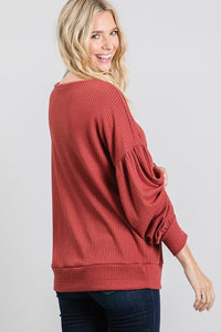 Thermal Waffle Drop Shoulder Top