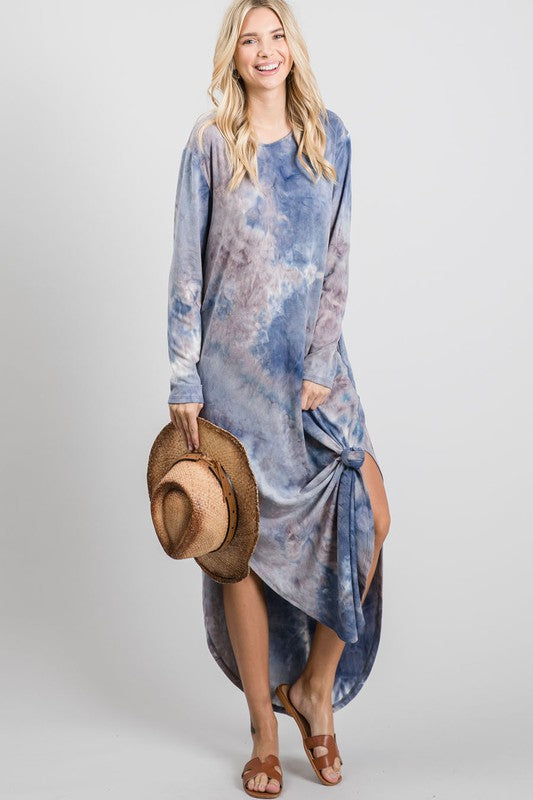Tie Dye Side Slitted Maxi Dress