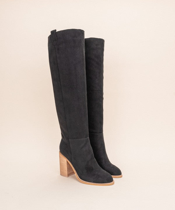 Box Cut Suede Block Heel Boot