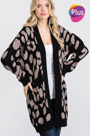 Animal Print Open Front Cardigan with Pockets