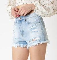Light Wash Shorts with Rainbow Thread Detailing