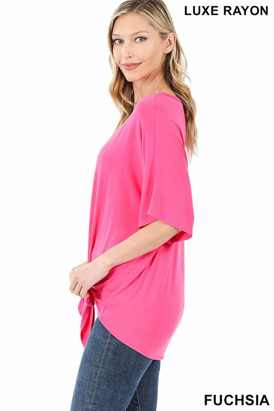 Luxe Rayon V-Neck Tie Front Top