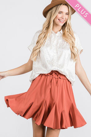 Plus Size Solid Flared Drawstring Skirt
