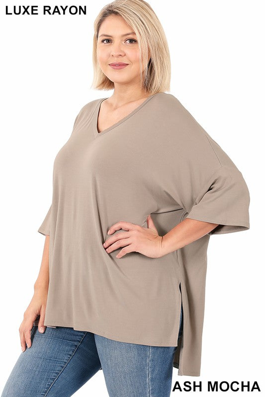 Plus Luxe Rayon Dolman Half Sleeve V-Neck Top