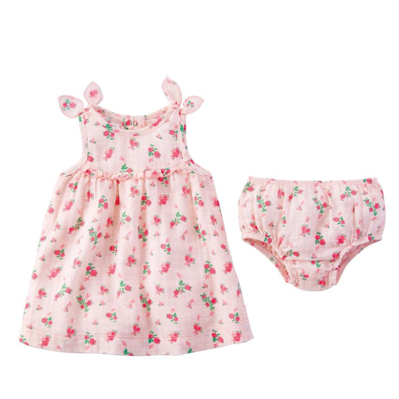 Tiny Rose Muslin Dress and Bloomers Set