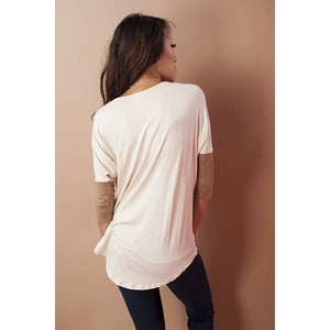 Suede Jersey Top with Front Pocket - Debs Boutique  LLC