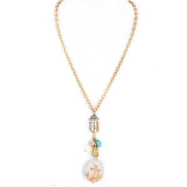 Metal Anchor Necklace with Frosted Glass Stone - Debs Boutique  LLC